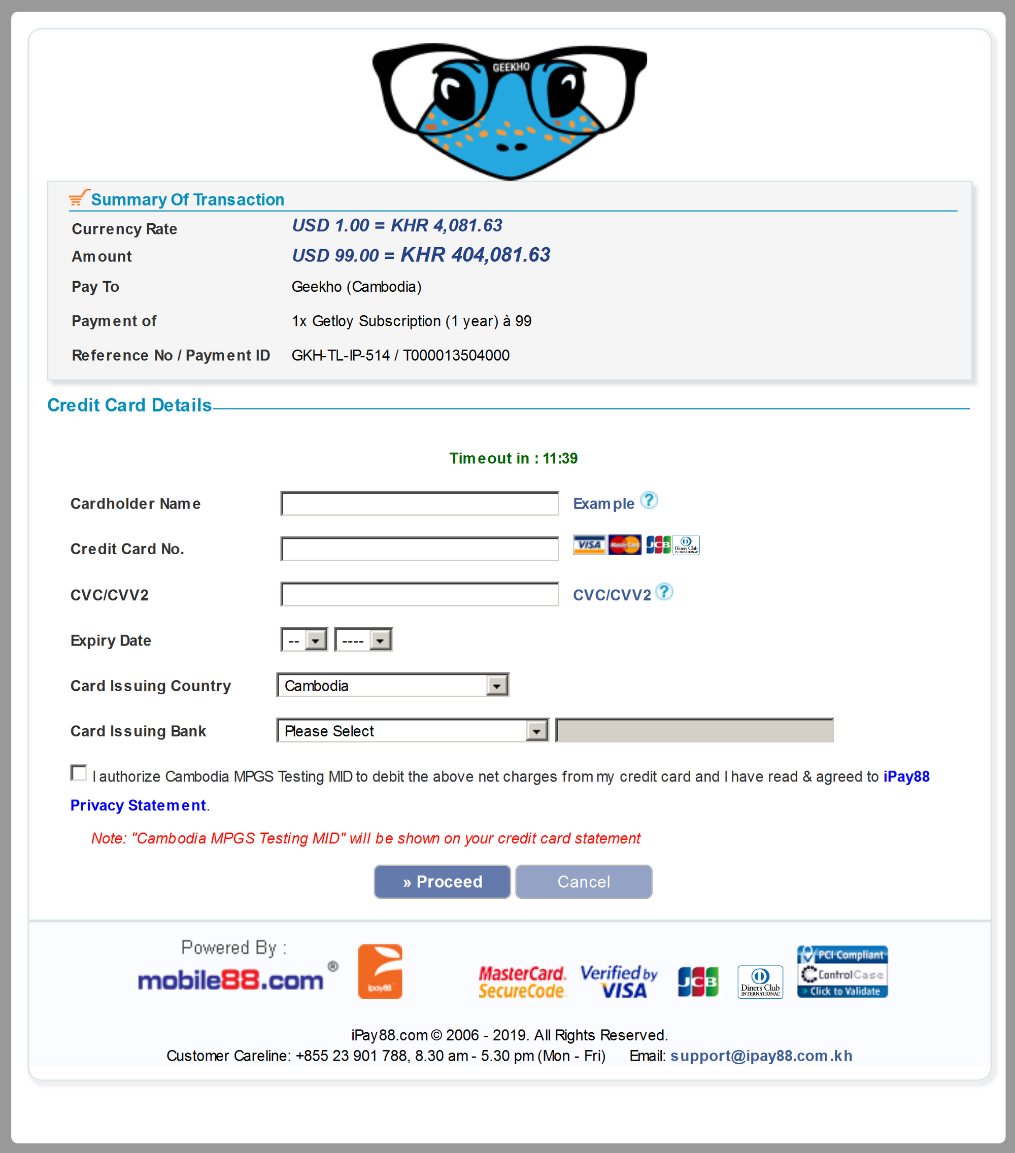 iPay88's payment interface for credit/debit card payments