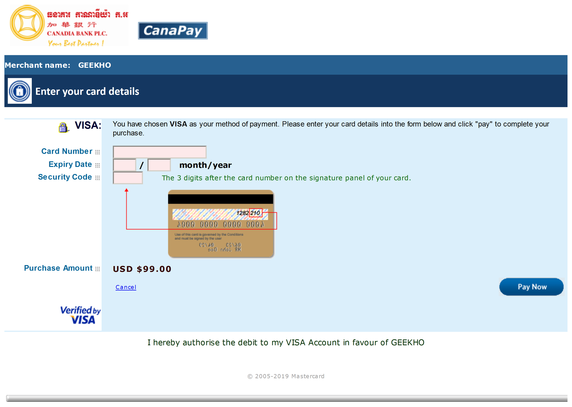 MIGS' payment interface for debit/credit card payments